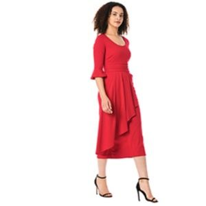 Asymmetric ruffle cotton knit sheath dress